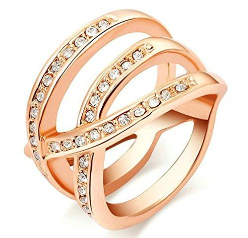 Gnzoe Gioielli, Placcato Oro Rosa Criss Cross Cubic Zirconia Matrimonio Matrimonio Anelli per Donna