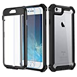 Garegce Coque iPhone 6, Coque iPhone 6s avec [2 x Protecteur d'écran en Verre Trempé], Housse TPU+PC [Antichoc] Transparent 360° Anti-Chute Armure Double Protection for iPhone 6 / 6s-4.7'- Noir