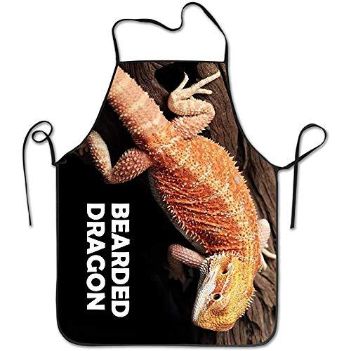 Herren Kostüm Bearded - HTETRERW Kitchen Apron Waterproof Restaurant Fierce Bearded Dragon Lizard Lock Edge Adjustable Men Women Durable Cooking Commercial Chef Blue