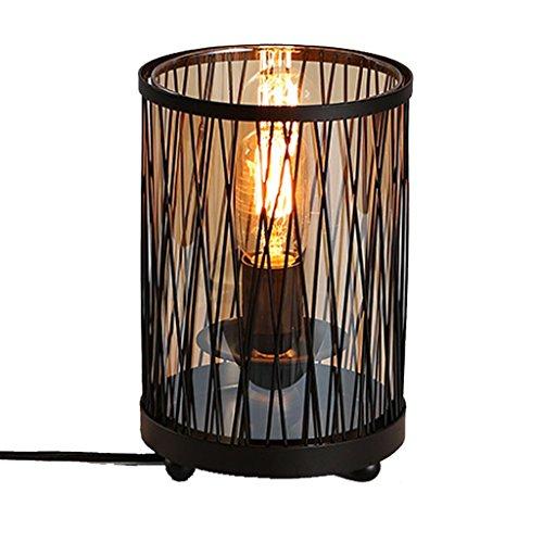 WSXXN Vintage Industrial Wind Gerade Linie schmiedeeisernen Glas Tischlampe Kreative Bar Cafe Restaurant Mode Schreibtischlampe (größe : High 26cm) -