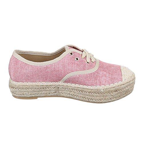 Damen Schuhe, Q8852-1, HALBSCHUHE FREIZEITSCHUHE SCHNÜRER Rosa