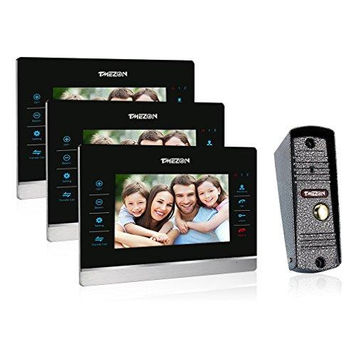 Preisvergleich Produktbild TMEZON 7 Zoll Farb LCD Touch Video Türsprechanlage Türklingel Überwachung Kit 3-Monitor 1-Kamera-Nachtsicht,Unterstützung Aufnahme/Snapshot