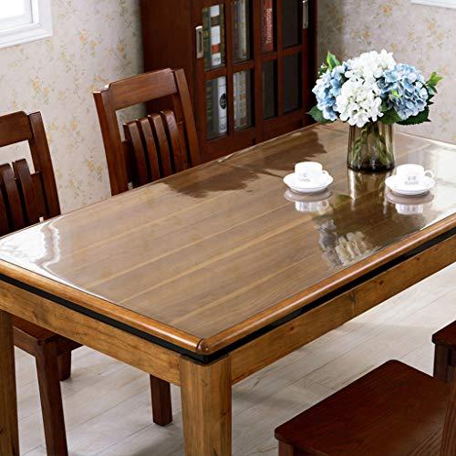 Danggl tovaglia trasparente,pvc anti-scottatura in plastica morbida tavolo in vetro opaco tavolo da tè rettangolare custodia protettiva quadrata (colore : transparent 2mm, dimensioni : 70cm*130cm)
