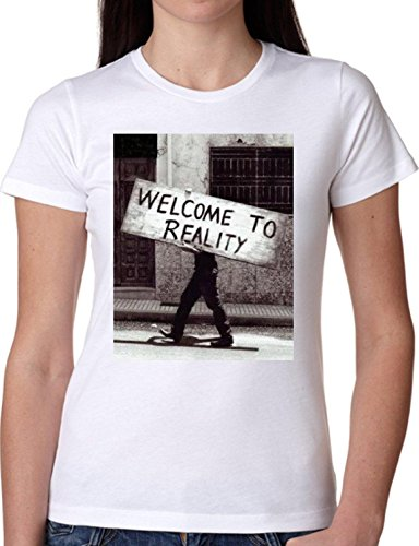T SHIRT JODE GIRL GGG22 Z1354 WELCOME TO REALITY VINTAGE SIGN PHOTO FASHION COOL BIANCA - WHITE