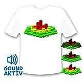 LED-Fashion T-Shirt LED equaliser (reacciona au son), conception 3d small blanc