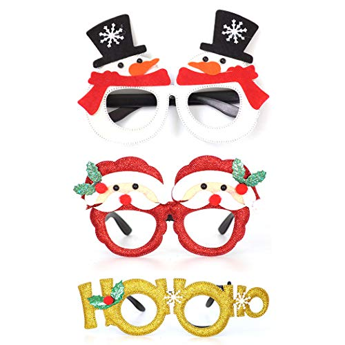 FunPa 3 Pairs Christmas Glasses Fashion Party Glasses Funny Eyeglasses Party Favor Glasses