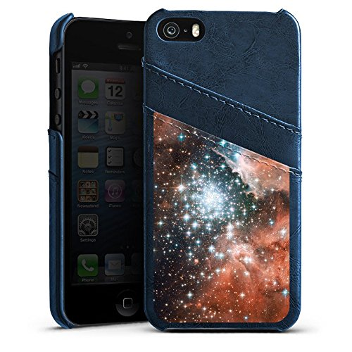 Apple iPhone 5 Housse étui coque protection Galaxie Espace Galaxie Étui en cuir bleu marine