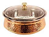 Indian Art Villa Hammered Steel Copper Casserole Donga Bowl With Glass Lid, Tableware & Serveware, 1350 Ml