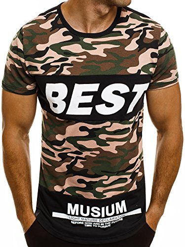 OZONEE Herren T-Shirt mit Motiv Kurzarm Rundhals Figurbetont J.STYLE SS179 Schwarz_J.STYLE-SS128