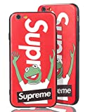 [ Apple iPhone 6 Plus, Rot ] Handy Hülle mit Supreme Logo + Kermit der Frosch Design - Stabiles Frog Case Muppet Show - Oberflächen Muster fühlbar in 3D Motiv - Optimaler Schutz für Ihr iPhone