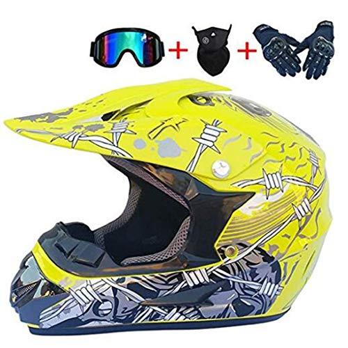Erwachsene Motocross Helm Goggles Handschuhe Maske, Motorrad Motorradhelm Mountainbike Vierräder Offroad Vollgesichts-Kollisionshelm Downhill ATV Enduro Mountainbike Motorrad DH, Gelb (Size : XL) -
