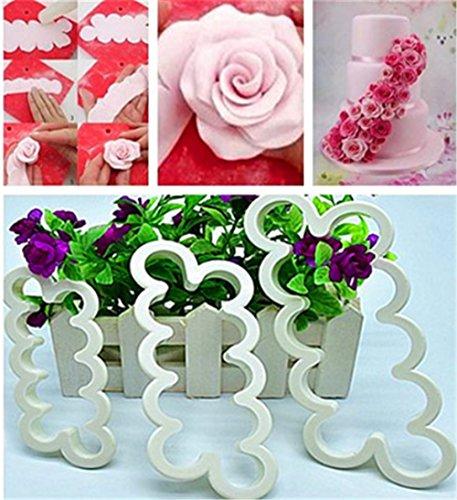 Haimoburg 3 Stück Rosen Ausstecher DIY Fondant Ausstechformen Deko Utensilien kleineren einfachsten Rosen in 12 verschiedene Größen