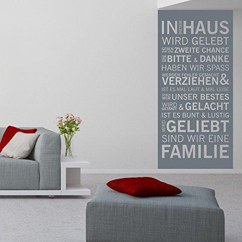 malango® Wandtattoo Familienspruch In diesem Haus wird gelebt Wandbanner Wandspruch Tattoo Banner Familie Spruch ca. 66 x 140 cm hellgrau
