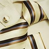 Geschenkidee Geschenke für Männer - Y & G khaki braun Krawatten für Männer Jahrestag Geschenke formelle Kleidung Seidenkrawatte Manschette Taschentücher Set