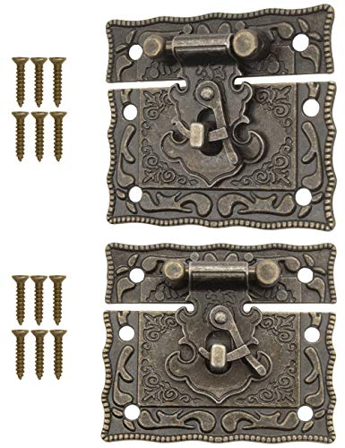 Fuxxer – 2 x chiusure anticate in bronzo, design in ferro, gancio per rast, serratura a cassette, 50 x 42 mm, con viti