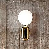 lquide Kunst Design Schlafzimmer nachttischlampe LED Wandleuchte glaskugel einfache Moderne Hallway Balkon Lampe Nordic Wohnzimmer wandlaterne (E14 glüuuml;hbirne) (Farbe : Gold)