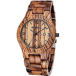 Reloj de madera Cálido, Cómodo y Hecho a mano, madera de zebrano 100% Natural