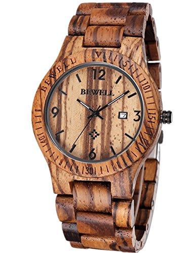 Stile Vintage Eco-Friendly Orologi da polso, fatto a mano,100% legno zebrano in legno naturale,calendario