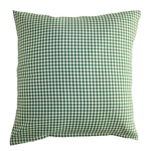 Hans-Textil-Shop Kissenbezug Karo 5x5 mm & Applikationen, Polyester (Grün, 40x40 cm) -