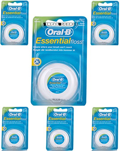 6x Oral-B Essential hilo encerado menta hilo dental 50m (Pack de 6menta)