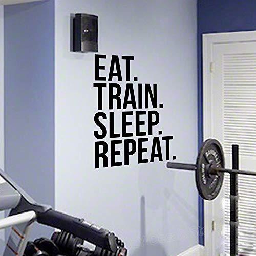 Njuxcnhg Essen Zug Schlaf wiederholen Fitness Wall Decal Zitat für Gym Kettlebell Crossfit motivierende Zitate Kunst Aufkleber Home Decor 42 X 58 cm (Purple Rain Prince Kostüm)