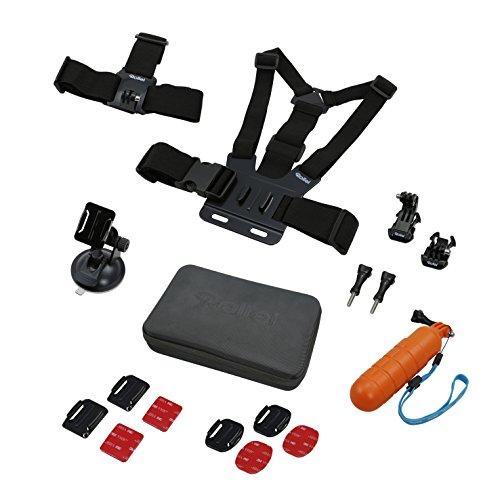 Rollei Actioncam Zubehör Set Sport - 17-teiliges Zubehör Set inkl. Brustgurt und Kopfband, kompatibel mit allen Rollei und GoPro Actioncams