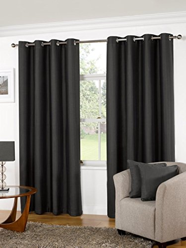 K LIVING Kliving 90 x 54 -Inch 52% Polyester 48% Cotton Manhattan Plain Panama Unlined Eyelet Curtains, Pewter
