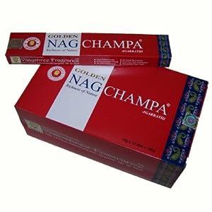 Räucherstäbchen Golden Nag Champa Grosspackung 12 Schachteln Wohnaccessoire Raumduft Deko