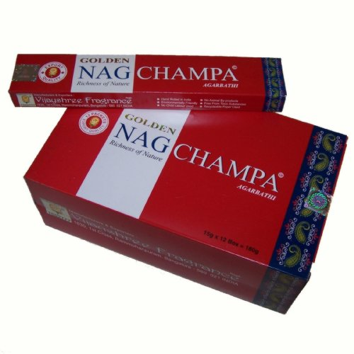 Bastoncini di incenso Golden Nag Champa-180g 12scatole da 15G, confezione grande da
