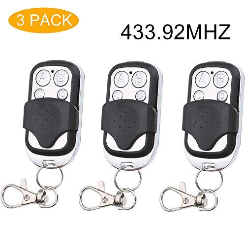 Easyult 3 pezzi telecomando universale per cancello automatico a frequenza 433,92 mhz, faac, bft, nice, etc, dotato di ben 4 differenti canali, con slitta copritasti