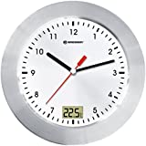 Bresser 8020112 MyTime Bath Analog Wall Clock for Bathroom with Temperature Display - White/ Silver