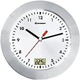 Bresser 8020112 MyTime Bath Bad Wanduhr mit Temperaturanzeige, weiß / silber