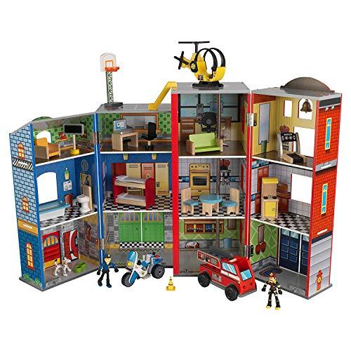 KidKraft- Juguetes de madera Everyday Heroes, para niños, con camión de bomberos, moto de policía, helicóptero y figuras de acción incluidos  , Color Multicolor (63239)