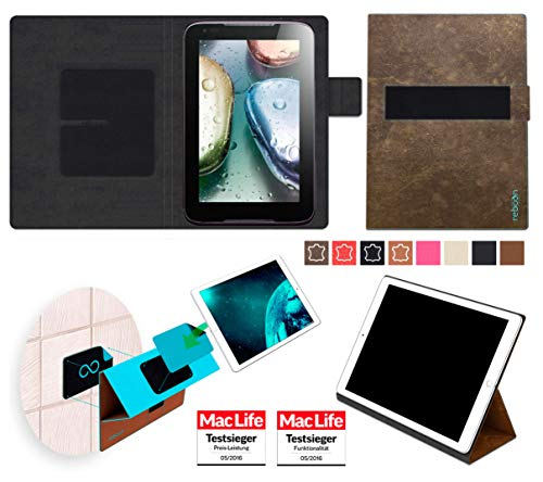Hülle für Lenovo IdeaTab A1000 Tasche Cover Case Bumper | in Braun Wildleder | Testsieger