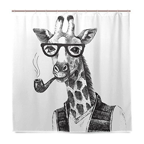 Miloha Badezimmer Dusche Vorhang Hand Drawn Schwarz Giraffe mit Sonnenbrille Rohr Design Haltbarer Stoff Bad Vorhänge Schimmelresistent Wasserdicht Badezimmer mit 12Haken 183,0cm x183,0cm