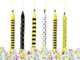 Geburtstagskerzen 6 Stück schwarz- gelb mit Punkten und Streifen Feier Party