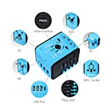 All In One Universal USB Travel Power Adapter With 3 USB Port And Type-C International Wall Charger Worldwide AC Power Plug 8 Pin AC Socket For Multi-nation Travel UK, EU, AU, Asia Over 200 Countries