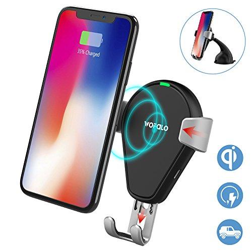 Inalámbrico cargador de coche, wofalo Qi cargador rápido Wirelss–Soporte de coche para Samsung Galaxy Note 8/S8/S8+/S7/S6Edge +/Note 5, Qi estándar inalámbrico cargador para iPhone 8/8Plus/X
