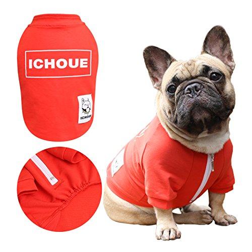 Wieder Sweatshirt (iChoue Hund Half Zipper Sweatshirt Kleidung T-Shirt, Large, Rot)
