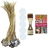 Cozyours 200mm cera d' api stoppini canapa con stoppino adesivi & stoppino dispositivo di centraggio, 50/50/1pz; Low Smoke & naturale; candela fai da te.Stoppini per realizzare candele