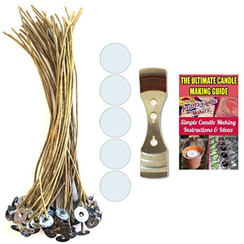 CozYours 200 mm lange Kerzendochte aus Hanf und Bienenwachs mit Kerzendocht-Aufklebern und Kerzendocht-Halter, 50 + 50 + 1 Stück, raucharm und natürlich, geeignet für die DIY Kerzenherstellung