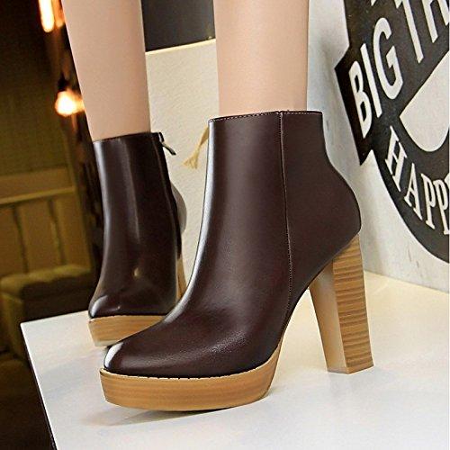 HSXZ Scarpe donna materiali personalizzati Fall Winter Snow Boots Fashion Stivali Stivali Chunky tallone punta tonda punta chiusa Mid-Calf scarponi per matrimonio Brown