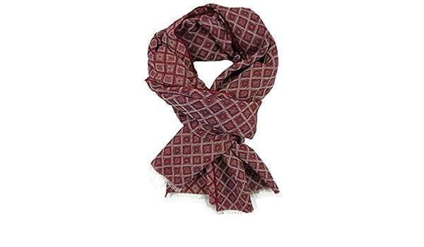 R-629 Sciarpa Webschal Jacquard alla moda rosso 100/% lana Merino