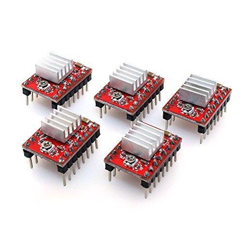 PoPprintA4988 Schrittmotor-Treiber, Ramps 1.4, mit Kühlkörper, für 3-D-Drucker, 5 Stück, rot, 5