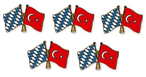 Yantec Freundschaftspin 5er Pack Bayern Türkei Pin Anstecknadel Doppelflaggenpin