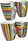 Juego de 4tazas de porcelana fina, muchos diseños disponibles Rainbow Stripe Design