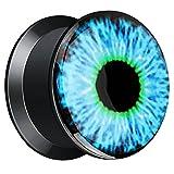 Piersando Ohr Plug Piercing Kunststoff Motiv Comic Picture Flesh Tunnel Ohrplug Schwarz mit Blaues Auge 10mm
