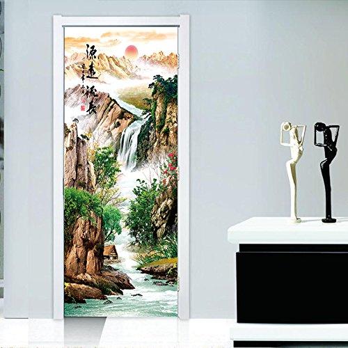eber 3D Tür Aufkleber Türschilder Quelle Lange Fließende Kreative Tür Aufkleber Wohnzimmer Veranda Wandaufkleber PVC Abnehmbar ()