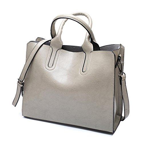 0c81f9057c2bb Frauen Mode PU Leder Schultertaschen TopGriff Handtasche Tote Tasche  Geldbörse Umhängetasche Gray