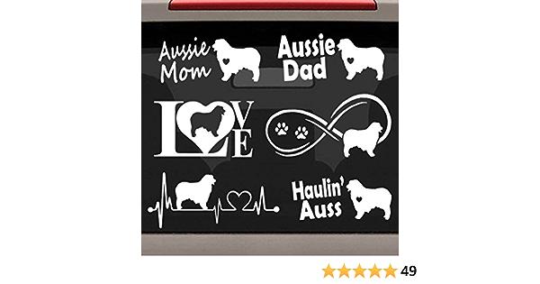 Bluegrass Aufkleber 6 Count Australian Shepherd Aussie Herzschlag Unendlichkeit Liebe Hund Aufkleber Set E1081 Auto